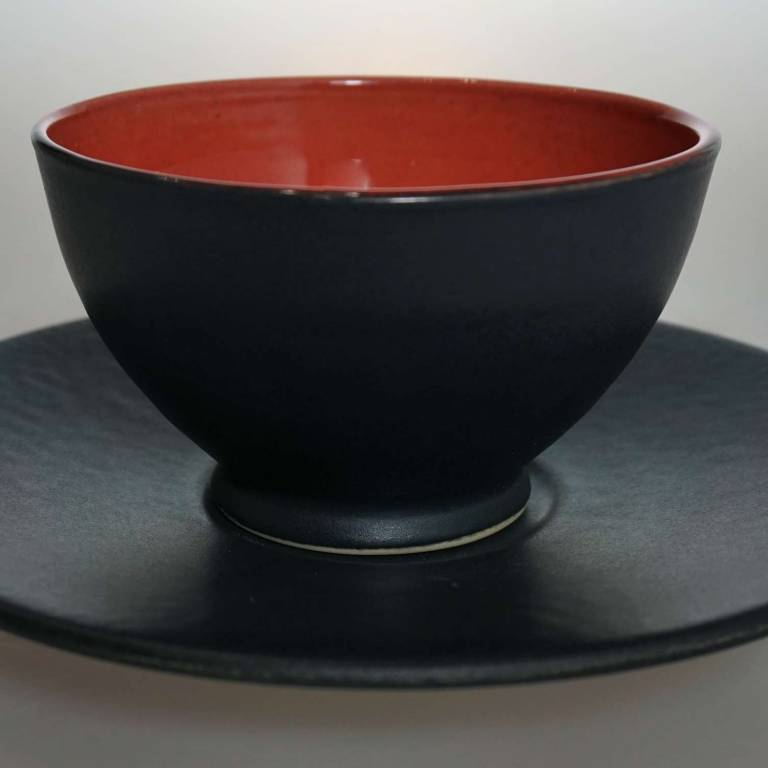 Black Saucer With Red/Black Cup/Bowl