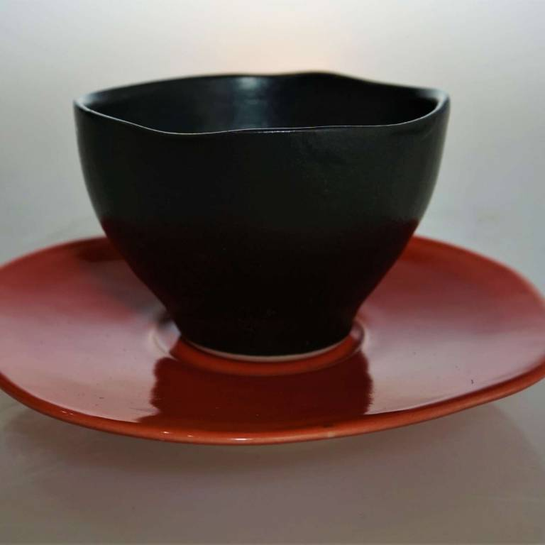 Wee Black Cup/Bowl With Red Saucer