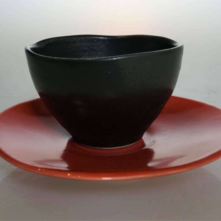 John Maguire - Wee Black Cup/Bowl With Red Saucer