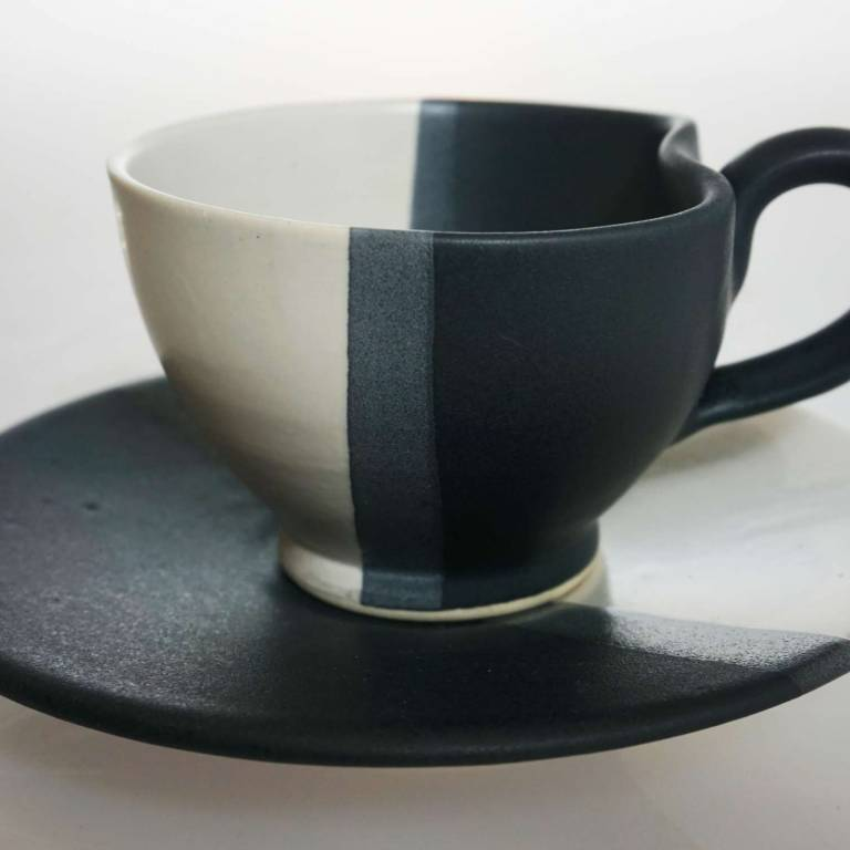 Wee Cup & Saucer Black & White