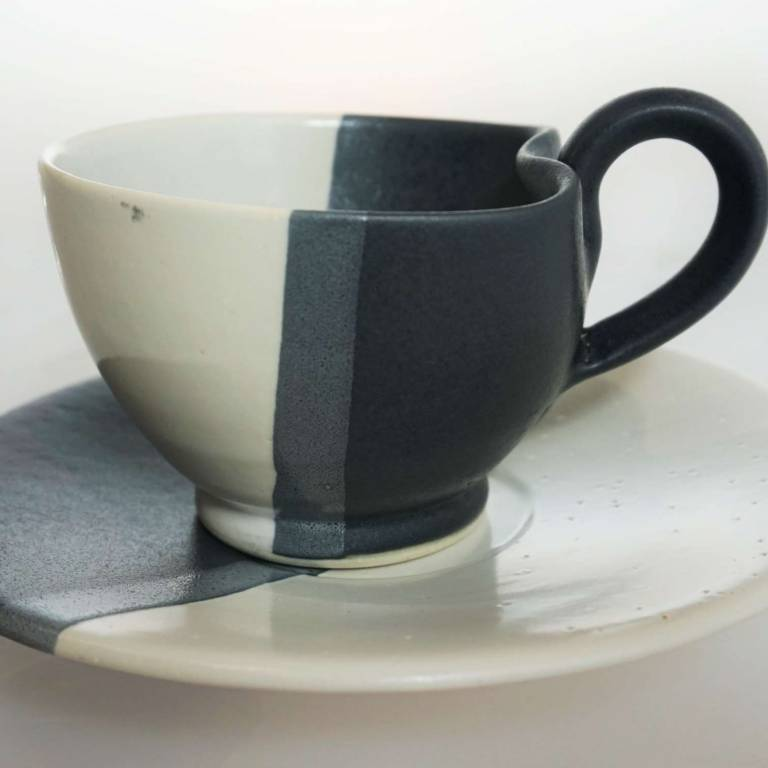 John Maguire - Wee Cup & Saucer Black & White