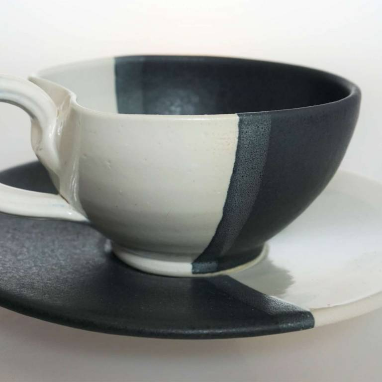 John Maguire - Black & White Cup & Saucer