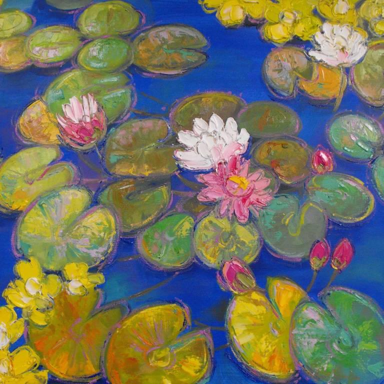 Judith I. Bridgland - Pink Waterlilies In Sunlight