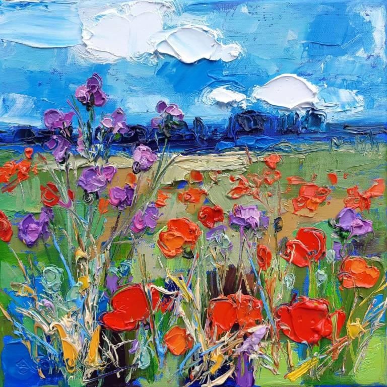 Judith I. Bridgland - Field Of Poppies & Thistles