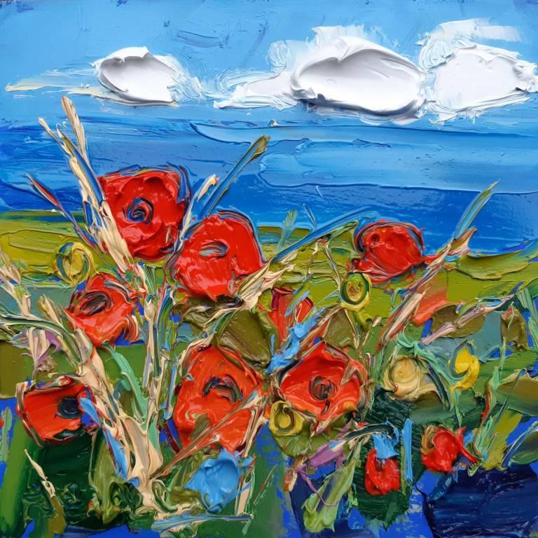 Poppy Field By The Coast