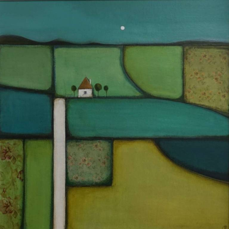 Full Moon Over Patchwork Fields
