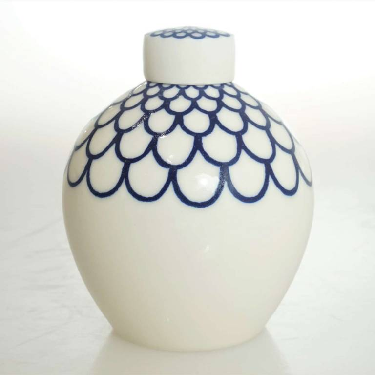 Rhian  Malin - Small Round Linear Floral Ginger Jar