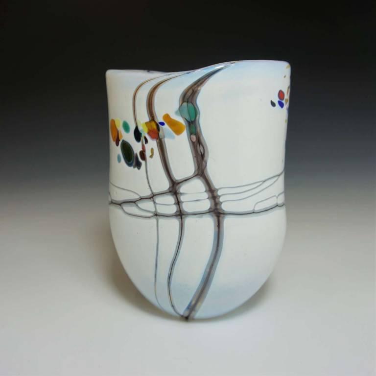 Small Open White Pebble Vase