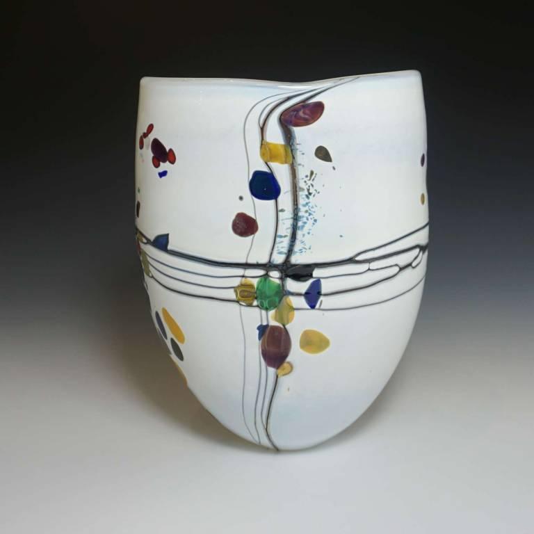 Medium Open White Pebble Vase