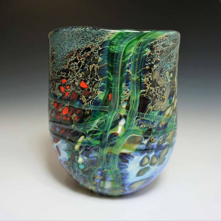 Will Shakspeare  - Small Blue Open Lustre Rocks Vase