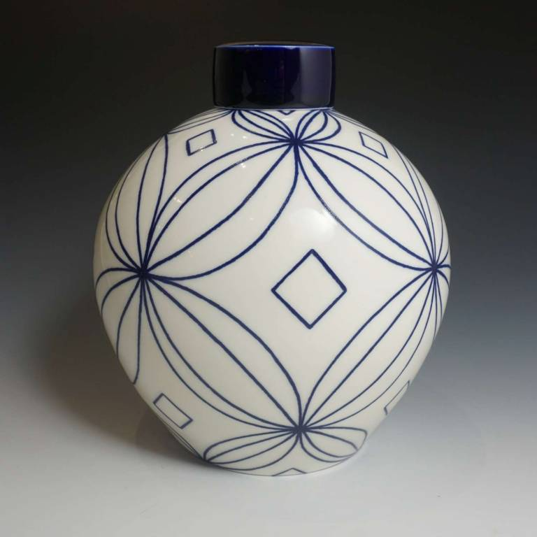 Rhian  Malin - Large Frangipani Double Ring Ginger Jar