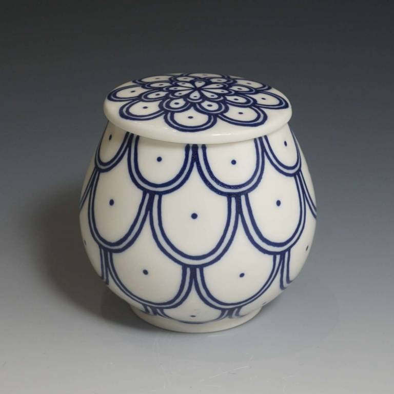 Rhian  Malin - Small Tea Jar Scallops and Dots