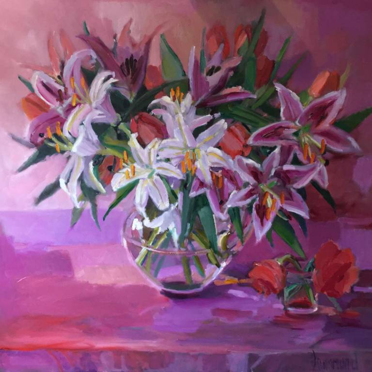 Marion Drummond PAI - Tulips & Lilies In The Goldfish Bowl