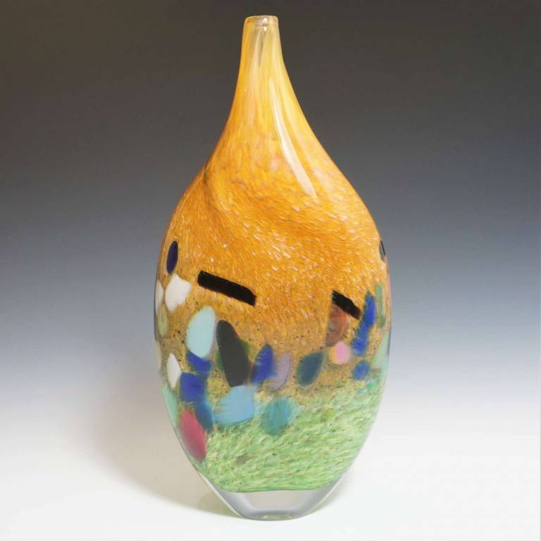 Kalki Mansel - Abstract Landscape Vase Green & Gold