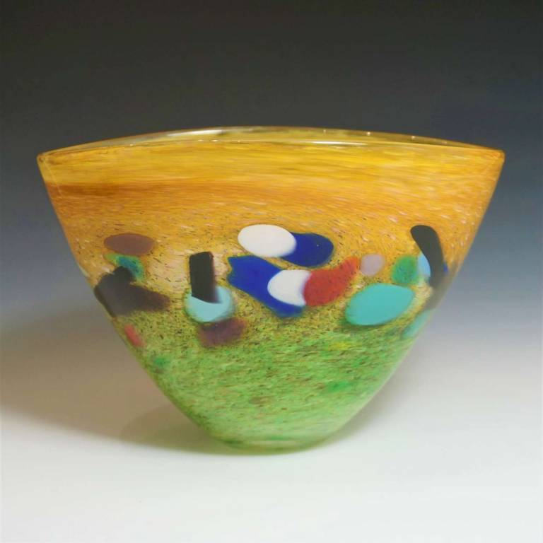 Kalki Mansel - Abstract Landscape Bowl Green & Gold