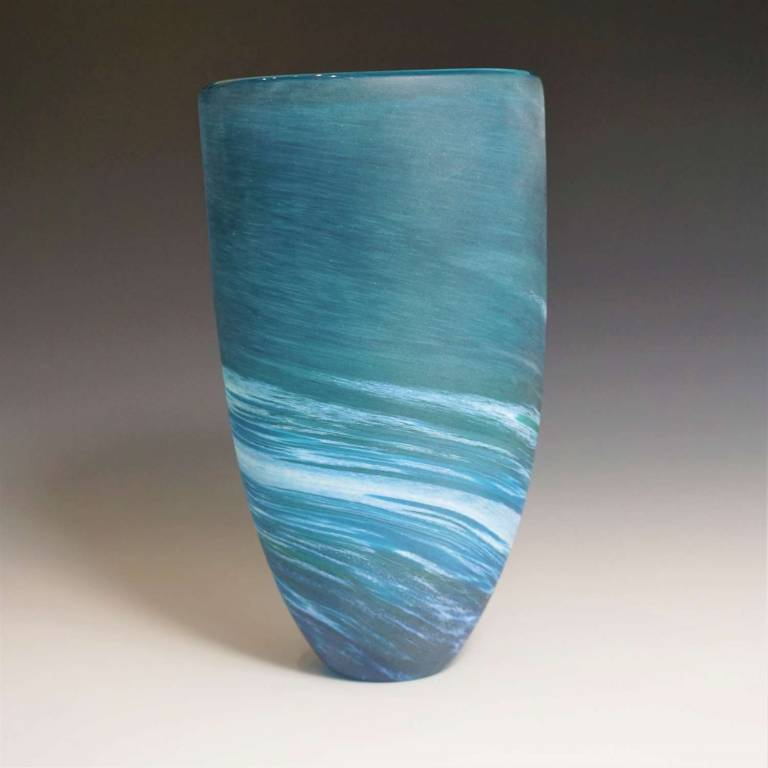 Richard Glass - Tall Seaspray Vase Aqua
