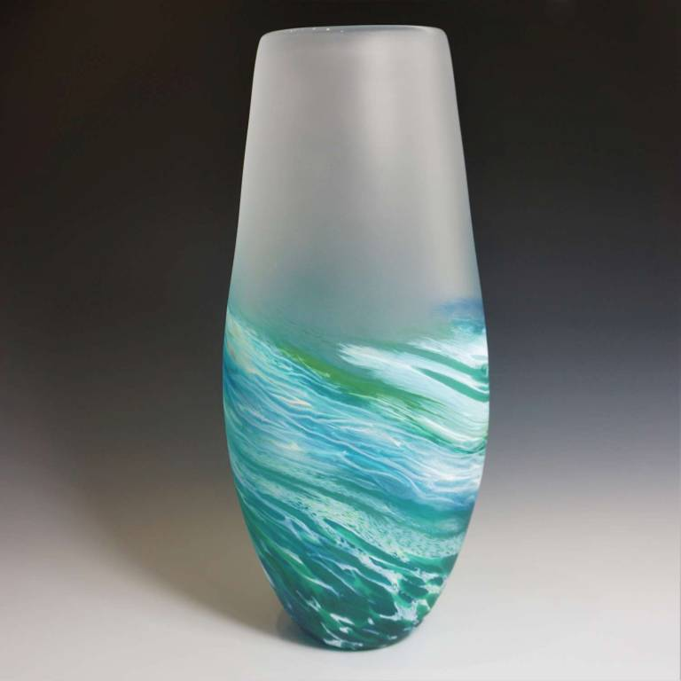Richard Glass - Seaspray Extra Tall Vase Blue