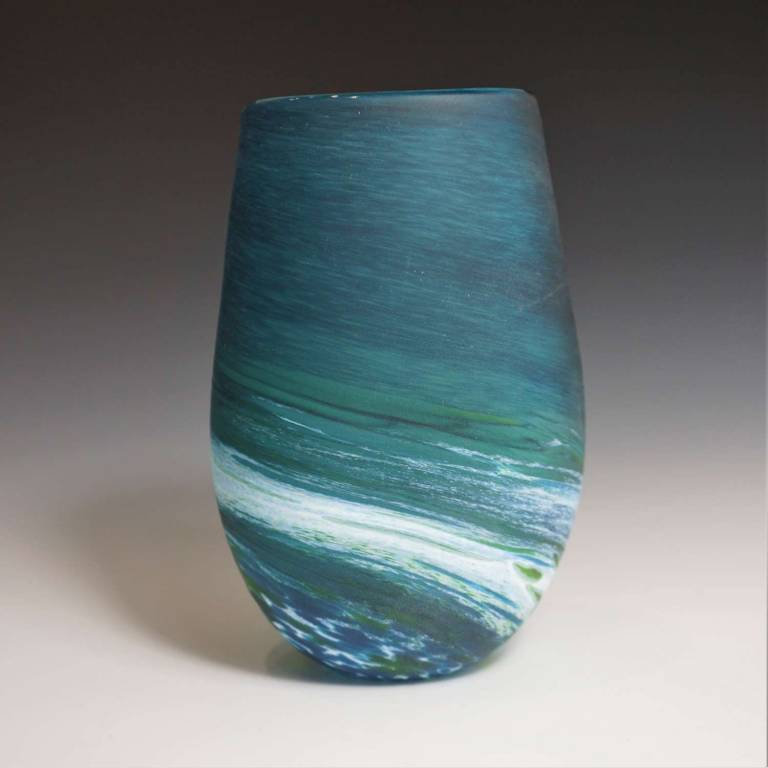 Richard Glass - Short Bud Vase Aqua