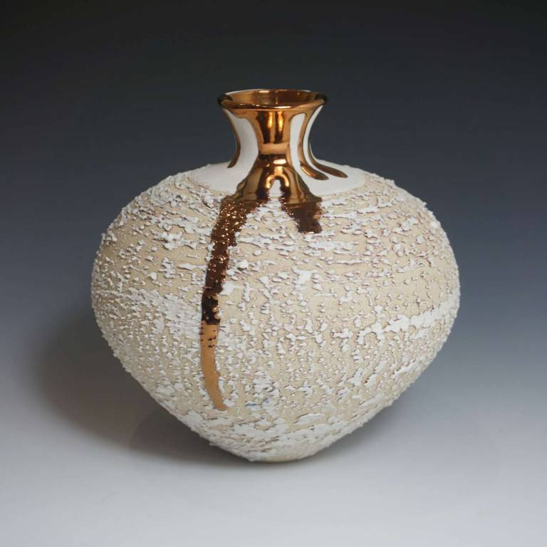 Alex McCarthy - Textured Vase With Copper Lustre
