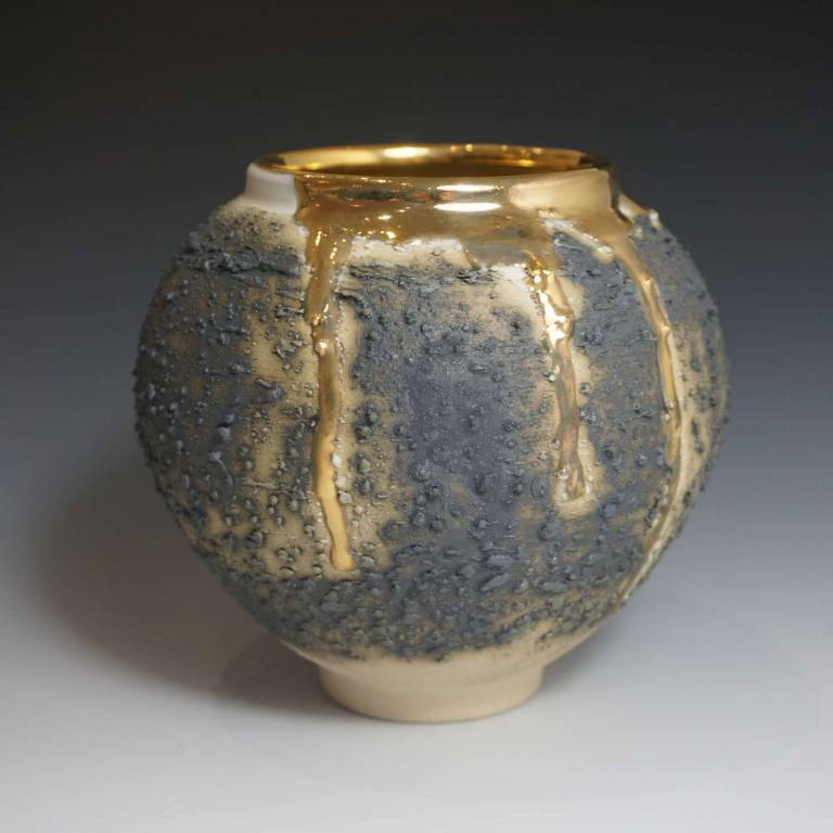 Alex McCarthy - Textured Moon Jar With Gold Lustre