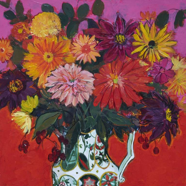 Ann Oram RSW - Dahlia Still Life On Red