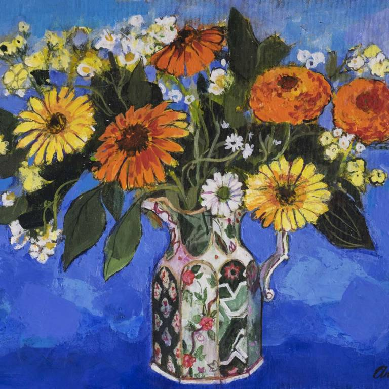 Marigolds In An Ironstone Jug