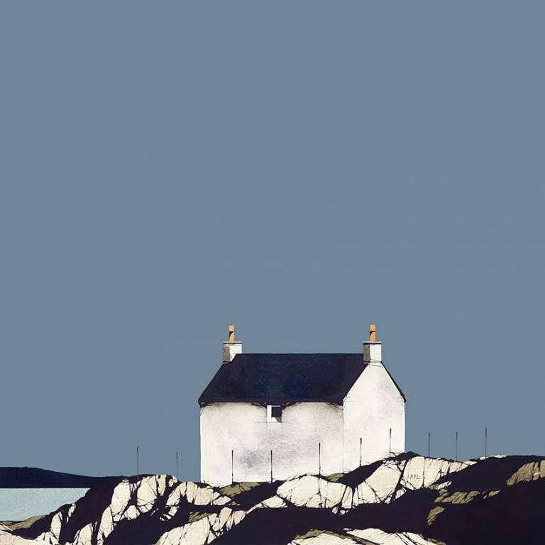 Ron  Lawson - Eriskay Cottage Blue Sky