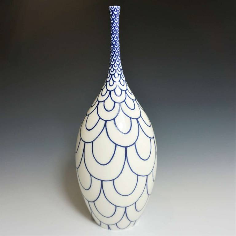 Rhian  Malin - Large Narrow Double Scalloped Bottle