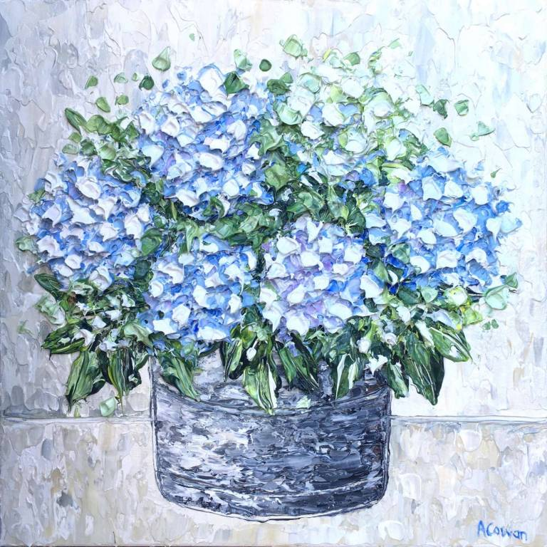 Hydrangeas in a Tin Pot