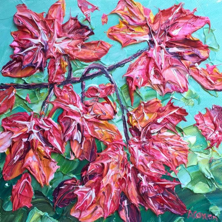 Alison Cowan - Maple Leaves on Teal
