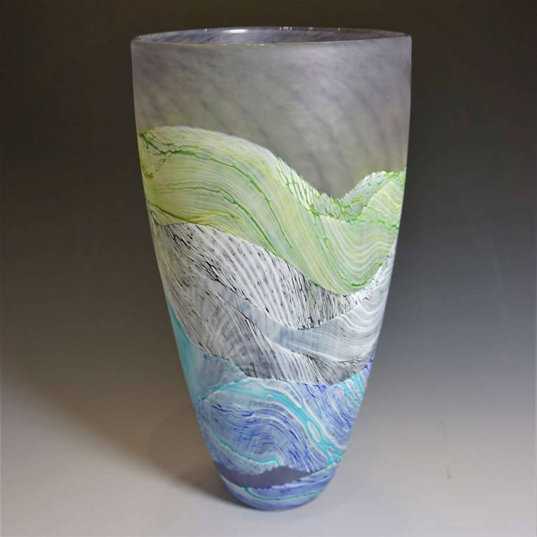 Medium Tall Vase Sea Shore Grey Skies