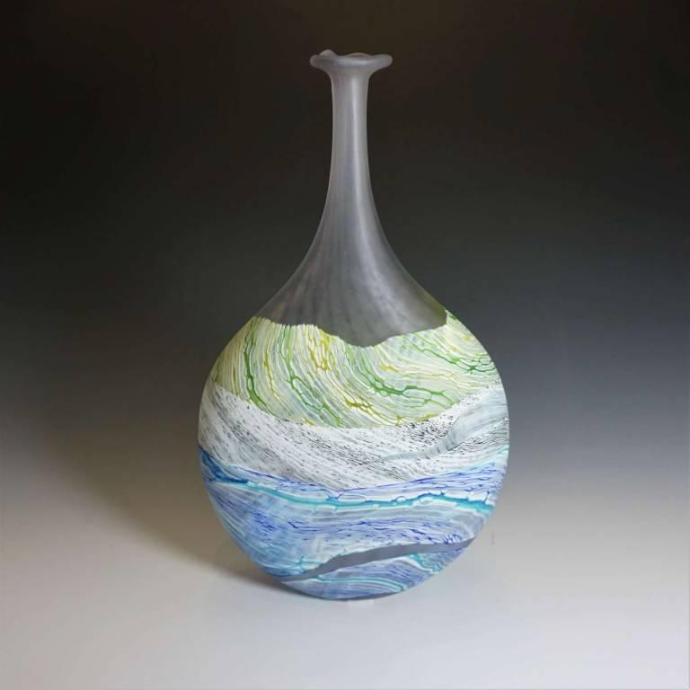 Medium Flattened Flask Sea Shore Grey Skies