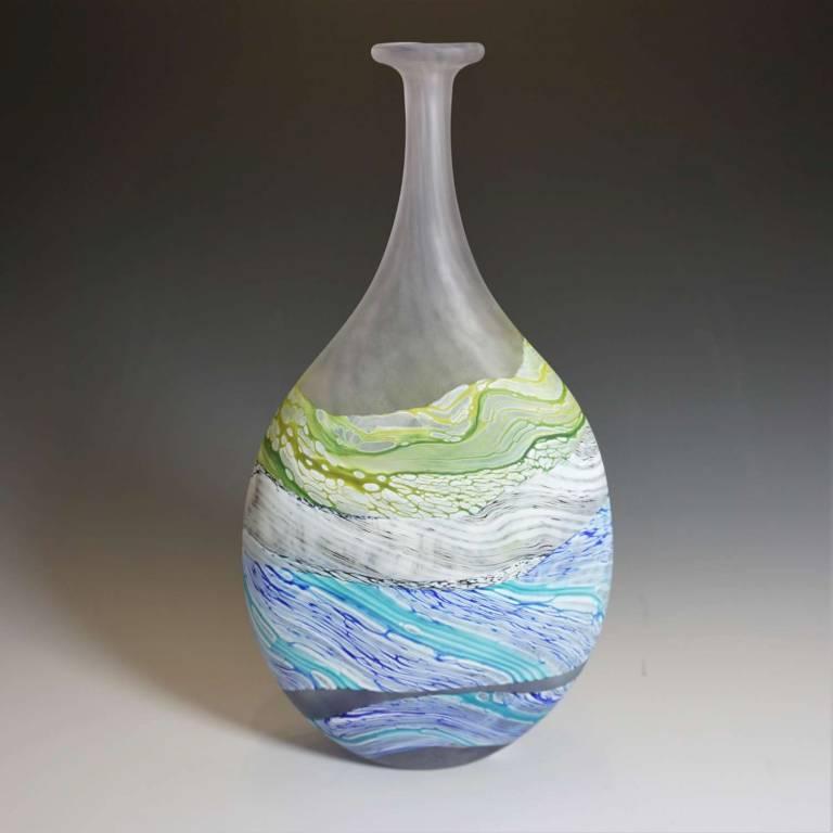 Small Flattened Flask Sea Shore Grey Skies