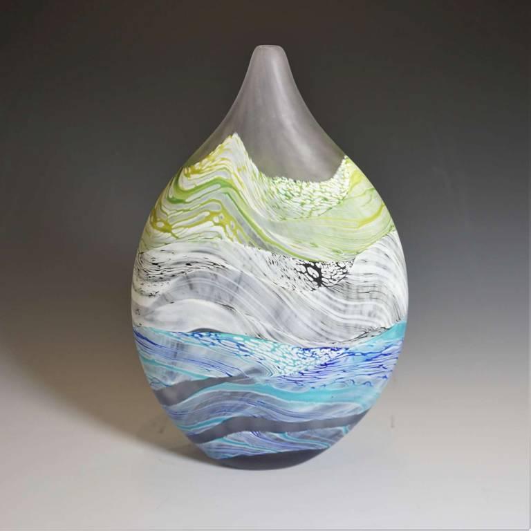 Small Teardrop Vase Sea Shore Grey Skies