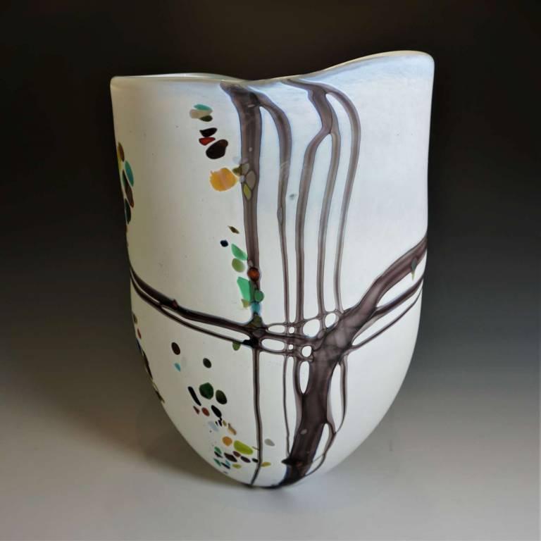 Large Open Pebble Vase Matt White