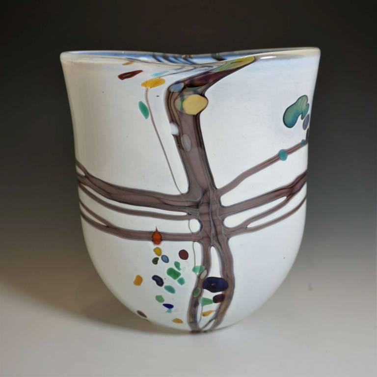 Medium Open Pebble Vase Matt White