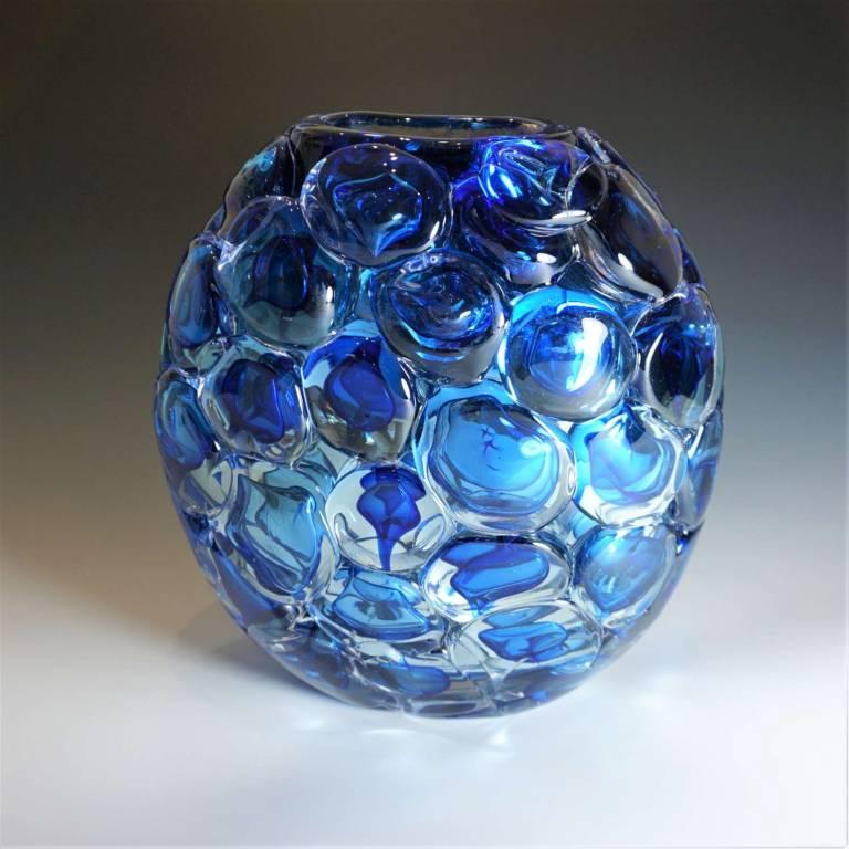 Blue Bubble Wrap Ovoid Vase