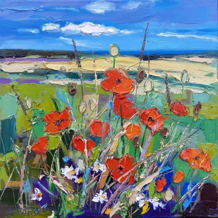 Judith I. Bridgland - Glimpse Of The Sea Beyond Poppy Field