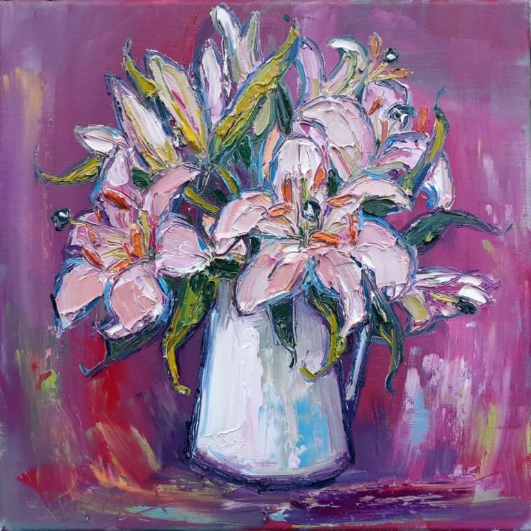 Judith I. Bridgland - Pink Lilies In Enamel Jug