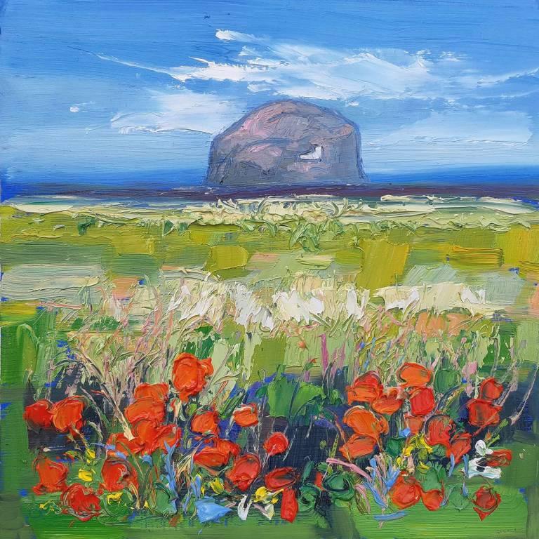 Judith I. Bridgland - Bass Rock Seen Across Fields