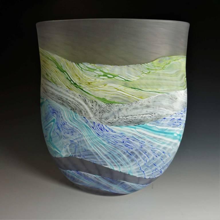 Medium Flat Vase Sea Shore Grey Skies