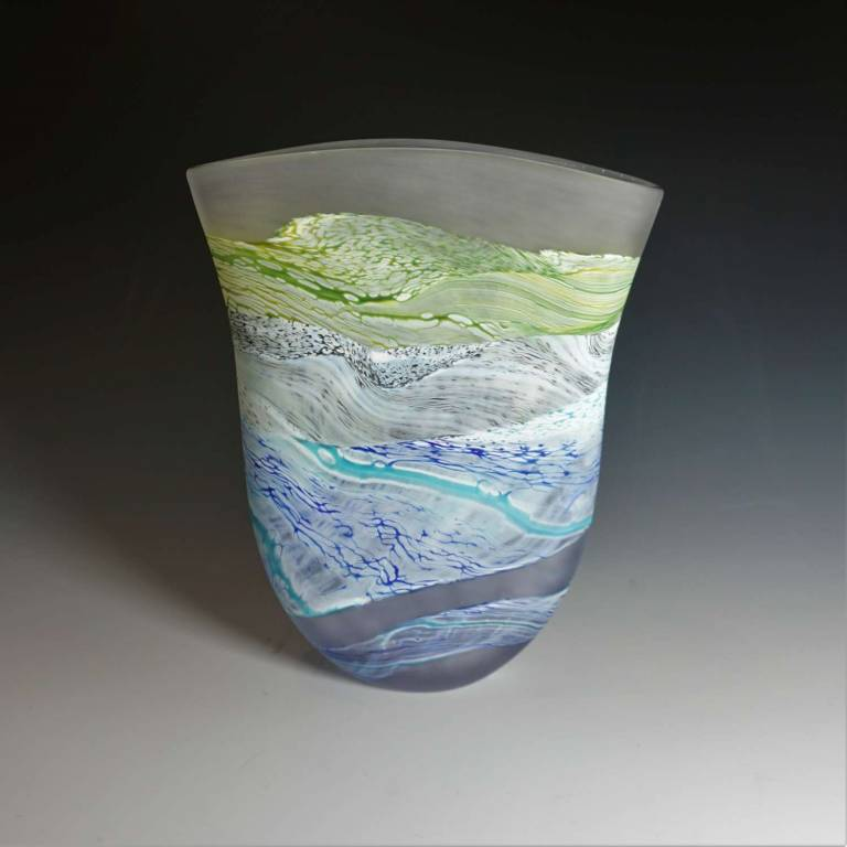 Small Flat Vase Sea Shore Grey Skies