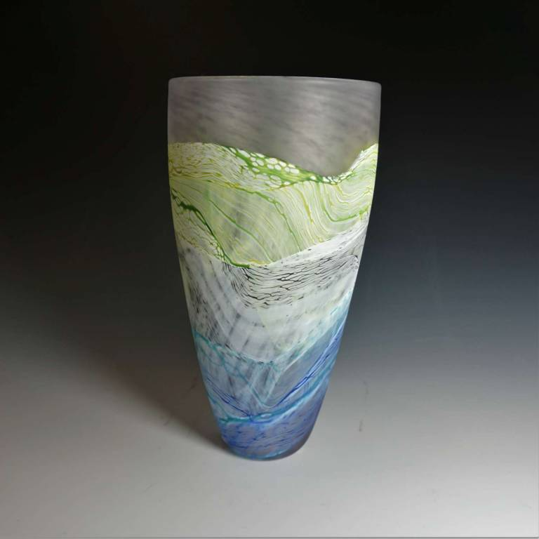 Small Tall Vase Sea Shore Grey Skies