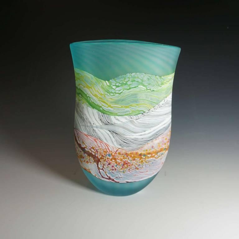 Small Flat Vase Sea Shore Flint