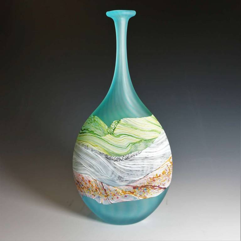 Small Flattened Flask Sea Shore - Flint