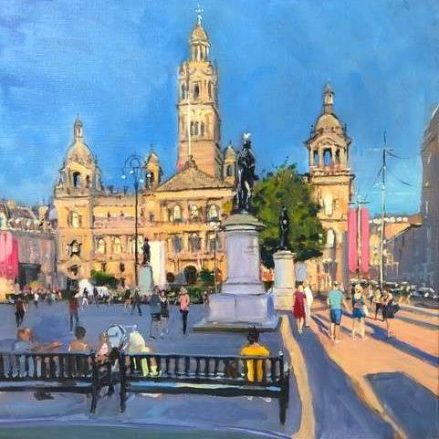 James Somerville Lindsay - A Summers Evening ,George Square
