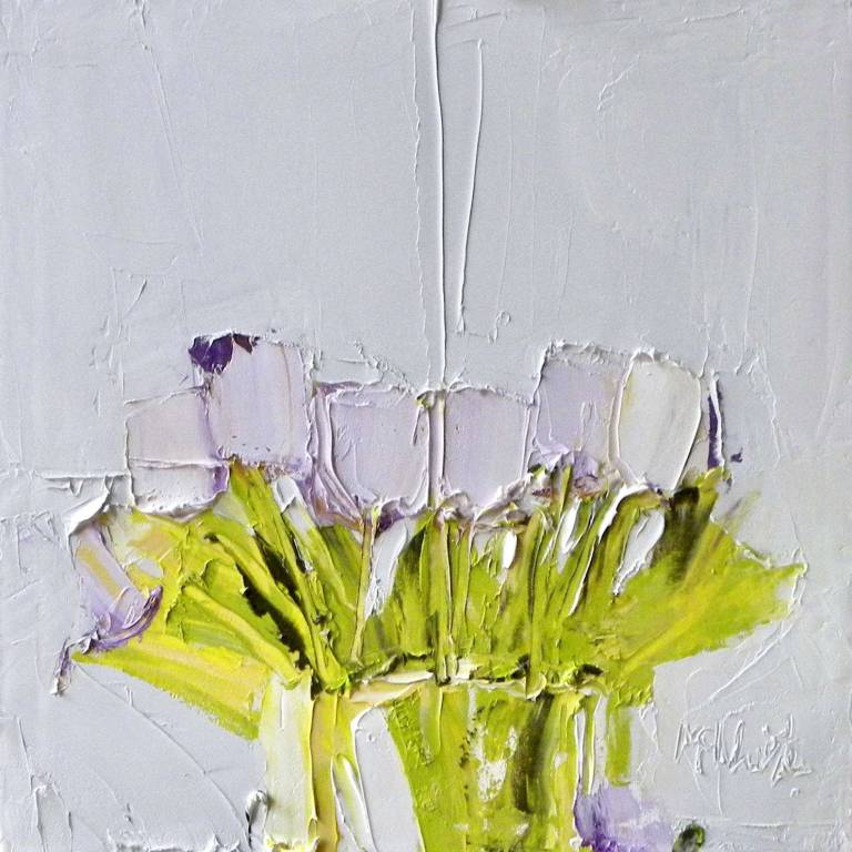Alison McWhirter - Tulips Against Palest Grey Lilac