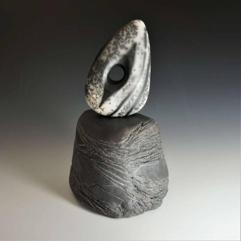 Small Adder Stone & Raku Plinth