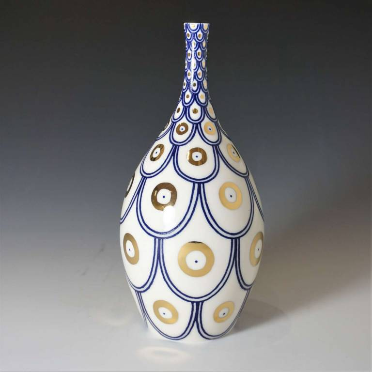 Medium Scalloped Bottle With Gold Circles